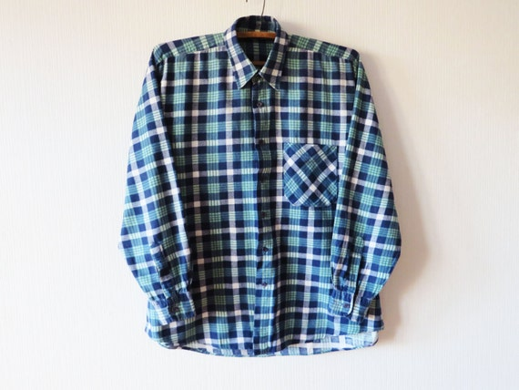 blue mint green plaid mens flannel shirt checked cotton mens