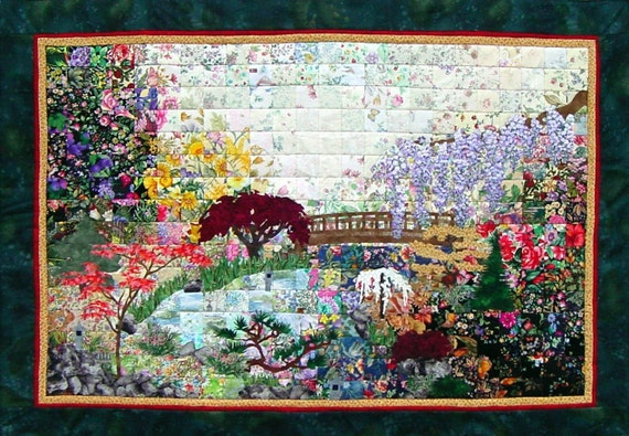 Items Similar To Whims Watercolor Quilt Kits Japanese Garden Quilting Supplies 36 X 24 X 0.4 ...