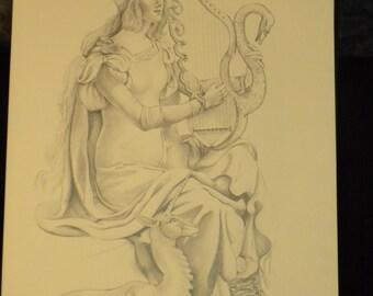 """ORIGINAL Drawing - Graphite """"Saint Cecilia"""""""