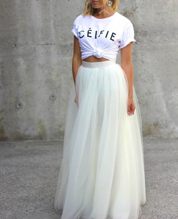 612 Best Tulle Everything Images On Pinterest: White Tulle Full Length Bridesmaid Wedding Gown Long Skirt