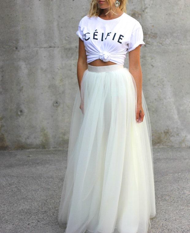 White tulle full length bridesmaid wedding gown long skirt for How to make a long tulle skirt for wedding dress