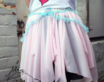 Fairy Kei Skirt Pastel Cotton Candy Pink Lightweight Overskirt 10 12 14 16