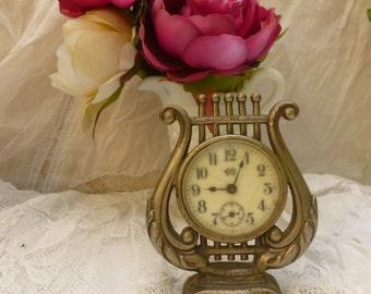 Wonderful Art Noveau Antique Waterbury Lyre Clock.1870. Rare Waterbury Clock Co.