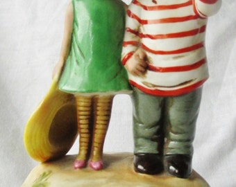 Gorham Moppets Music Box Girl and Boy 1974 We've Only Just Begun