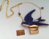 Blue Swallow necklace with 'I Love You' goldtone notelet, perfect Valentine gift