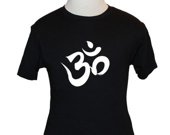 Om T-Shirt - American Apparel or Gildan - Black (S M L XL) - Aum Meditation, Hinduism, Buddhism, Jainism