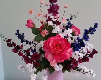 Silk Floral Arrangement, Spring Flower Arrangement, Mixed Floral Bouquet, Rose Arrangement,