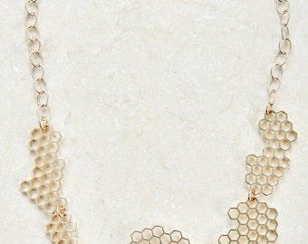 Honeycomb Connected Necklace brass necklace unique necklace simple necklace trendy gift idea