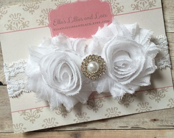 Newborn White Lace Headband, Christening, Baptism, Flower Girl Headband, Baby Girl Headband, Shabby Chic, Toddler Headband, Photo Session