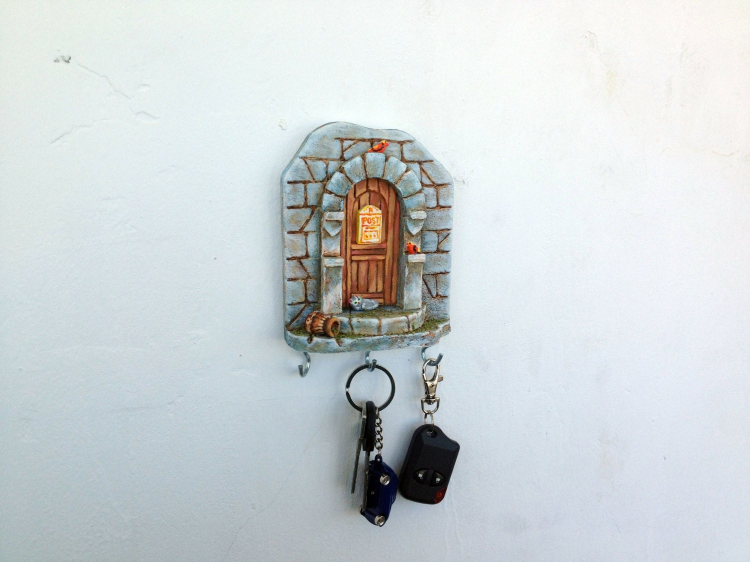 Key Holder Wall Miniature Ceramic Pottery Little House Castle