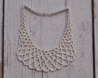 Beaded Bib Necklace / Silver-Toned Statement Necklace