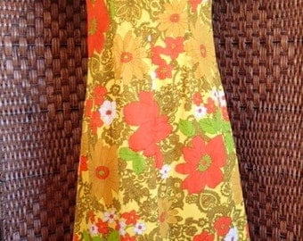 Orange and Yellow Floral 70s Qipao Style Full Length Dress Sz S