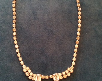 Vintage 1950's Clear Rhinestone Necklace