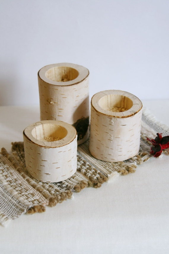 Log candle holder rustic birch candle holder wood by for Log candle holder how to make