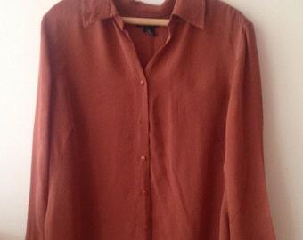 Silk Rust Button Down Shirt