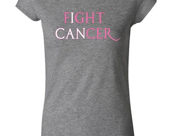 Breast Cancer Awareness Ladies Shirt Fight Cancer Longer Length Tee T-Shirt FCNR-8101