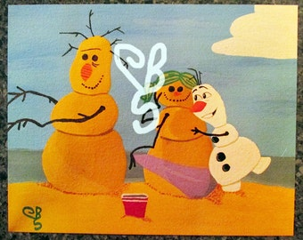 8x10 Print of Disney Frozen Olaf at the Beach with Sandmen Painting