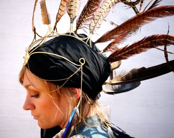 Spectacular feather head piece, Festival wear, Feather accessories, pixie wear, forest nymph, tribal wear, feather mohawk,party wear.