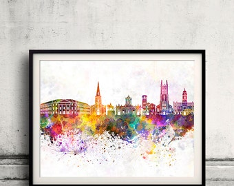 Derby skyline in watercolor background 8x10 in to 12x16 Poster Digital Wall art Illustration Print Art Decorative  - SKU 0174