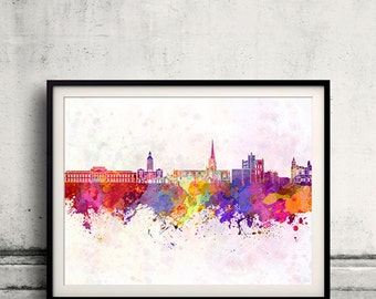 Chesterfield skyline in watercolor background 8x10 in. to 12x16 in. Poster Digital Wall art Illustration Print Art Decorative  - SKU 0185
