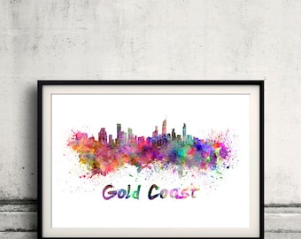Gold Coast skyline in watercolor over white background with name of city 8x10 in. to 12x16 in. Poster art Illustration Print  - SKU 0331