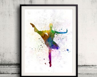 Woman ballerina ballet dancer dancing 8x10 in. to 12x16 in. Poster Digital Wall art Illustration Print Art Decorative  - SKU 0501