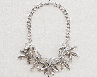 Clear Crystal Flower Statement Necklace