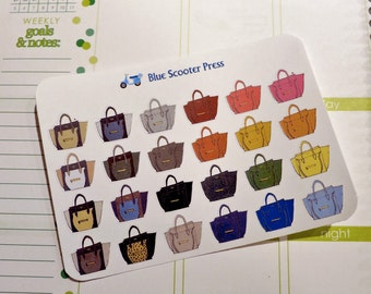 FS104G// Hand drawn Fashion It-Bag Celine Tote Stickers! 24 GLOSSY planner stickers.