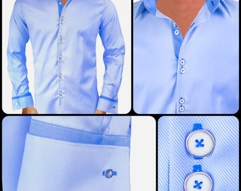French cuff shirts etsy for Light blue french cuff dress shirt