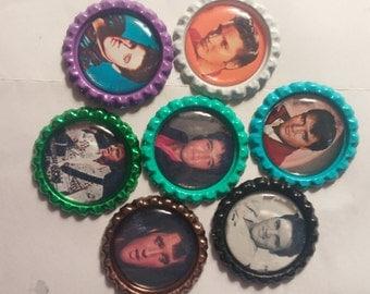 Set of 7 multi-color Elvis Presley strong bottle cap magnets THE KING