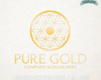 Flower of Life Gold Vector Logo, Hand Drawn Logo, Vector Logo, Logo Template, Premade Logo, Business Branding, Boutique Logo, Business Logo