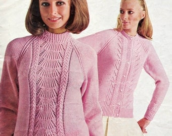 Vintage Knitting Pattern PDF Ladies Sweater and Cardigan Twinset