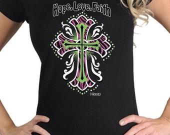 Women's Hope Love Faith Religious Christian Catholic Cross 1 Thessalonians Black Shirt