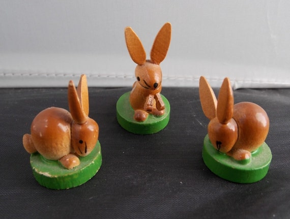 Miniature Wooden Rabbit Figurines