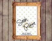 Gold Polka Dot Glitter Customized Wedding Welcome Sign