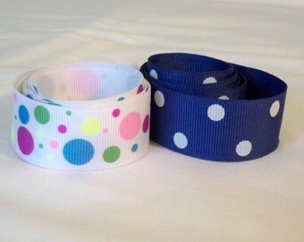 Polka dot Grosgrain Ribbons, Two 1 yard pieces, Both 1 Inch Wide, Blue with White Spots, White with Multicolored Spots