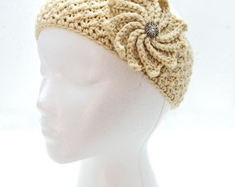 Beige Crochet Headband with Flower