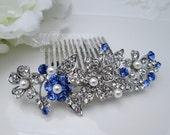 Bridal Hair Comb Blue Wedding Accessory Sapphire Crystal Swarovski Ivory Pearl Bridal Hair Clip Leaf Hair Comb Flower Bridal Haircomb Leah