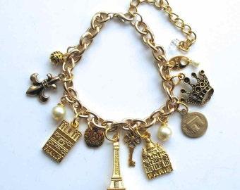 Elegant Paris Monuments Replica Charm Bracelet Gold Tone Bracelet