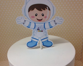 Girl and Boy Astronaut Space Party Cake Topper
