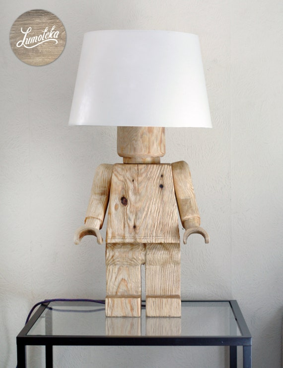 Scandinavian wooden lego table lamp for Diy table lamp ideas