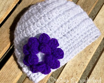 Spring White Crochet Hat with Purple Flower