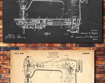 Sewing Machine Patent Print Art 1946