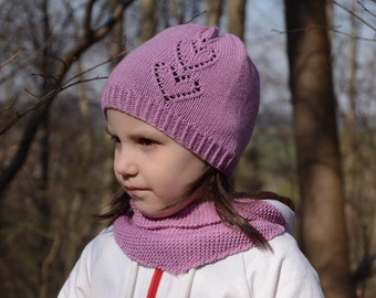 Pink Hat for Toddlers, Girl's Beanie With Hearts, Hats for Toddler Girls, Knitted Beanie, Cotton Merino Wool, Handmade Toddler Girl Hat