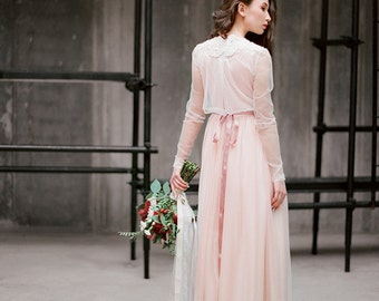 "Bohemian long sleeve wedding dress ""Ivanna"", boho bridal gown, pink wedding dress with sleeves, romantic wedding, rustic dress, milamira"