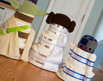 Star Wars Baby Shower Decorations or Centerpiece - Diaper Cakes - Yoda, R2D2, Princess Leia, Centerpieces - Newborn Hats - Star Wars Nursery