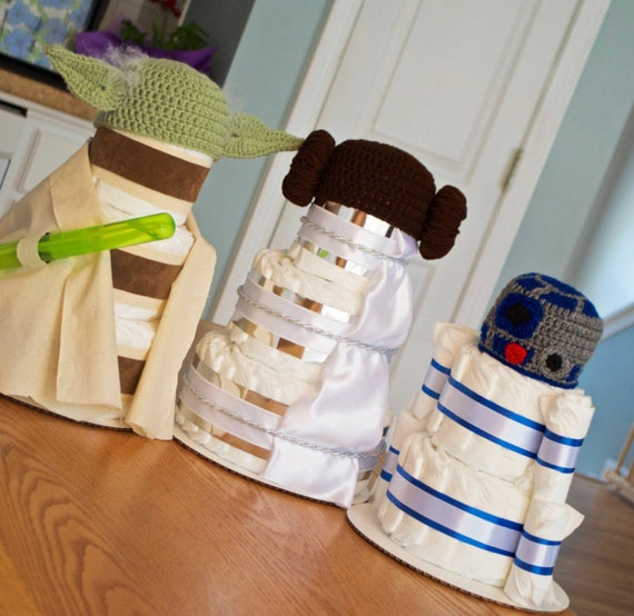 star wars inspired baby shower decorations diaper cakes yoda r2d2