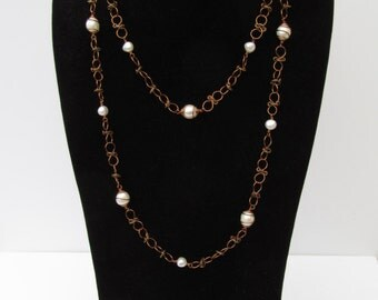 Chain and Pearl Necklace