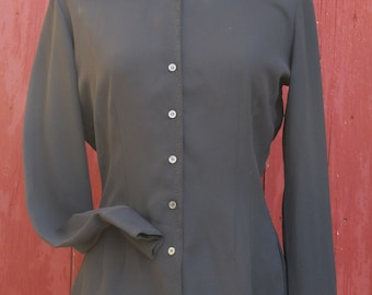 Cacharel 1970s does 1940s poly crepe black Shirt