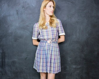 Vintage Plaid Day Dress // 1970's